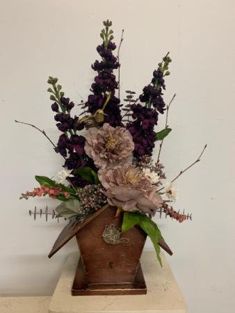 (SILK) Metal bird house  Silk flower arrangement