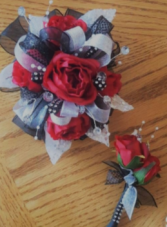 Silk Mini Rose Wistlet and Boutonniere Dance Flower Set
