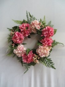 Silk Pink Hydrangea Wreath 15 Silk Wreath