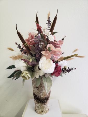 (SILK) Pretty In Pink Silk flower arrangement