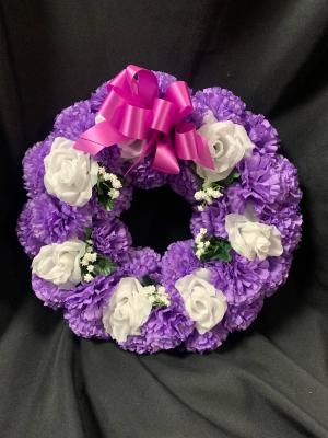 Purple and White Silk Sympathy Wreath in Red Lake, ON | FOREVER GREEN GIFT BOUTIQUE