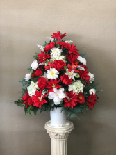 Silk Red and White Basket