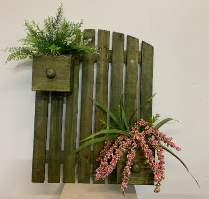 (SILK) Rustic garden fence Silk flower arrangement wall hanging