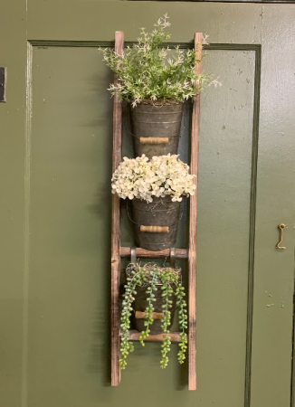 (SILK) Rustic Ladder Silk flower arrangement wall hanging