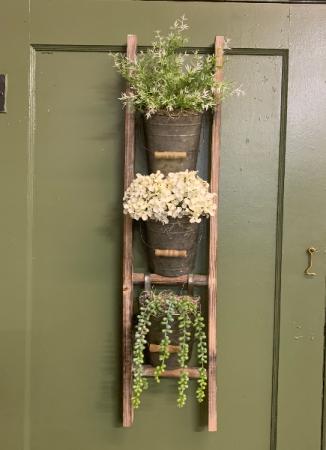 (SILK) Rustic Ladder Silk flower arrangement wall hanging
