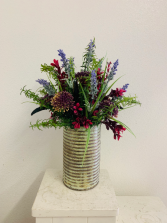 (SILK) Rustic Tin with Wild Flowers Silk Arrangement