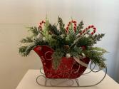 (SILK) Santa's Sleigh Silk flower arrangement