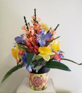 (SILK) Spring with Mom Silk flower arrangement