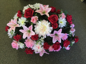 Silk Sympathy Casket Spray in Red Lake, ON | FOREVER GREEN GIFT BOUTIQUE