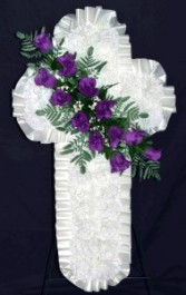 Silk Sympathy Cross - small Funeral Flowers