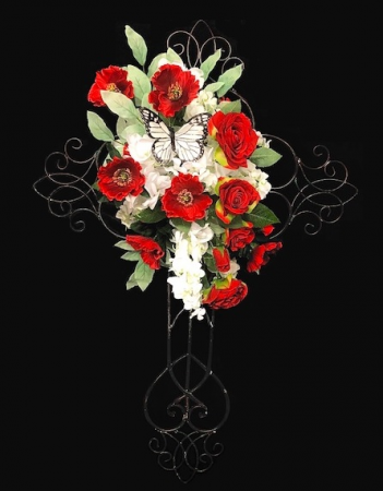 Silk Floral Sympathy Cross Red & White Design on Metal Cross