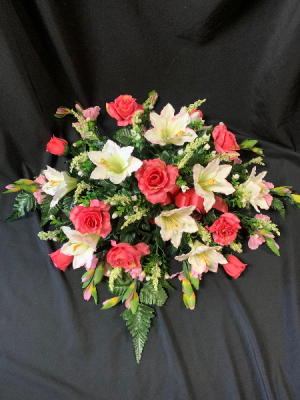 Silk Sympathy Pink Casket Spray in Red Lake, ON | FOREVER GREEN GIFT BOUTIQUE