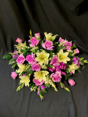 Silk Sympathy Purple Casket Spray in Red Lake, ON | FOREVER GREEN GIFT BOUTIQUE