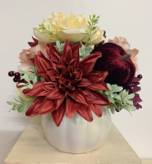 (SILK) The Blushing Pumpkin Silk flower arrangement