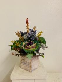(SILK) The Box of Berries and Greens  Silk Arrangement