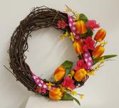 One of a Kind Silk tulip wreath Silk wreath