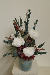 silk white peonies and eucalyptus Silk Arrangement