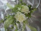 Silk White/Green corsage Wrist Corsage