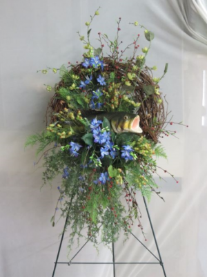 Silk Wreath Artificial Arrangement w/fish in Farmville, VA | CARTERS FLOWER SHOP