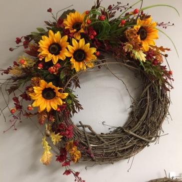 Silk Wreath Sunflower Delight Arrangement