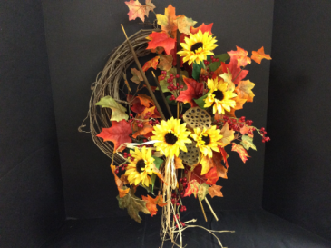 Silk Wreath Sunflowers Abundance Arrangement