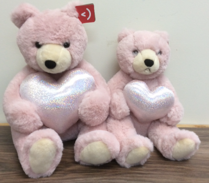 Silky soft bears with iridescent heart Plush