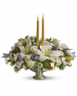 Silver and Gold  Winter Centrepiece  in Oakville, ON | ANN'S FLOWER BOUTIQUE-Wedding & Event Florist