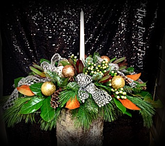 Silver and Golds Magnolia Centerpiece Holiday