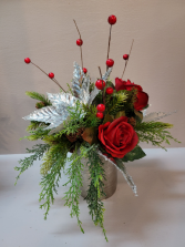 Silver and Red  Silk Arrangement (ARTIFICIAL)