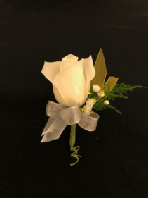 Silver and Sunshine Single White Rose Boutonniere