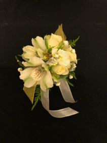 Silver and Sunshine Spray Rose and Alstroemeria Wrist Corsage