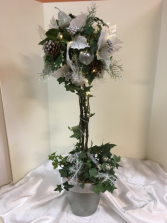 silver and white topiary 30
