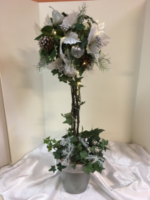 "silver and white topiary 30"" silk arrangement  with lights"