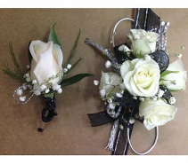 Silver & Black Corsage & Bout set