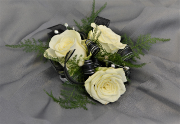 SILVER BLACK CORSAGE IN STORE PICK UP ONLY WRIST CORSAGE