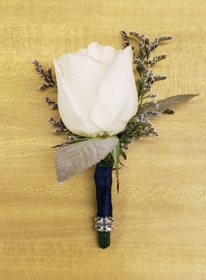 Silver Bling Boutonniere in Croton On Hudson, NY | Cooke's Little Shoppe Of Flowers