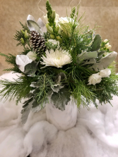 Silver Bliss Winter Faux Marble Vase Arrangement