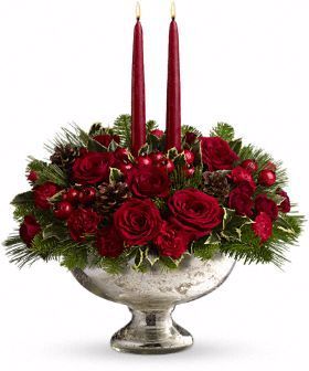 Silver Bowl Centerpiece Arrangement