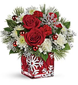 Silver Christmas Bouquet T16X600 Fresh Flower Keepsake