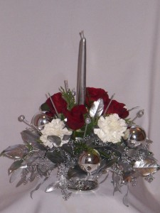 Christmas Centerpiece- SILVER  CLASSIC CENTERPIECE Christmas Classic Candle Centerpieces   Florists in Prince George BC