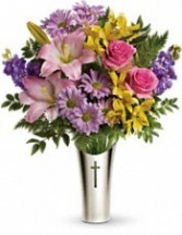 Silver Cross Bouquet by Teleflora Silver Cross Vase