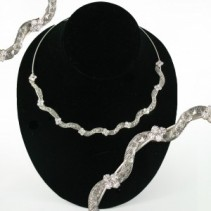 Silver Crystal Choker Jewellery