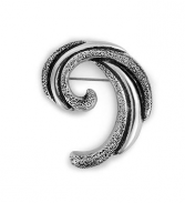 Silver Curled Leaf Pin