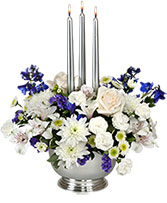 Silver Elegance Centerpiece in Philadelphia, Pennsylvania | CARL ALAN FLORAL DESIGNS LTD.