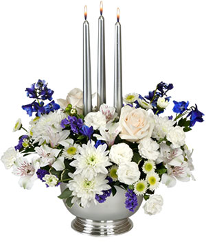 Silver Elegance Centerpiece in Bloomington, IN | MARY M'S WALNUT HOUSE FLOWERS AND GIFTS
