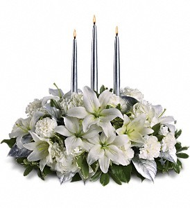 Silver Elegance Centerpiece   in Fort Lauderdale, FL | ENCHANTMENT FLORIST