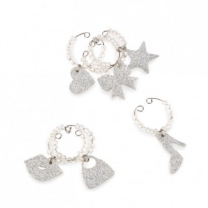Silver Glitter Fashion Set Wine Glass Charms