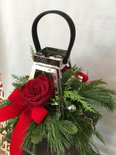 Silver Lantern  Holiday Arrangement