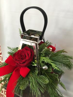 Silver Lantern  Holiday Arrangement in Joliet, IL | LABO'S FLOWERS & GIFTS