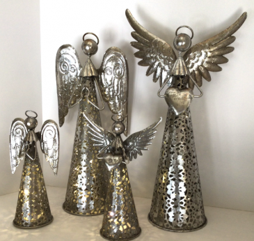 Silver Lighted Angels Holiday Decor